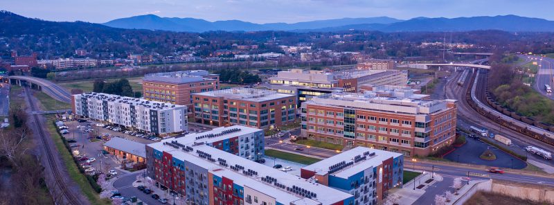 Aerial view of Fralin Biomedical Research Institute, Virginia Tech Roanoke Campus